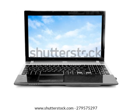 Cloud computing network concept. Notebook with cloud isolated on white