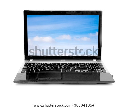 Cloud computing network concept. Notebook with cloud isolated on white - stock photo