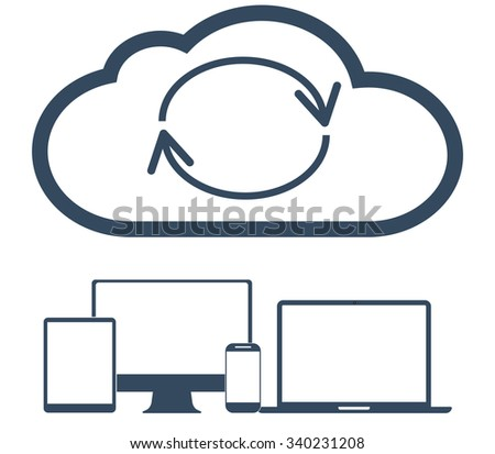 Cloud computing Network Connected all Devices. Flat design.  Raster version.