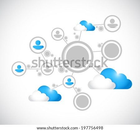 cloud computing network connection illustration design over a white background - stock photo