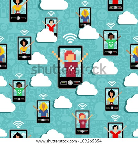 Cloud computing network connectivity team seamless pattern. - stock photo