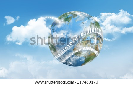Cloud Computing on Earth with Digits and Clouds - stock photo