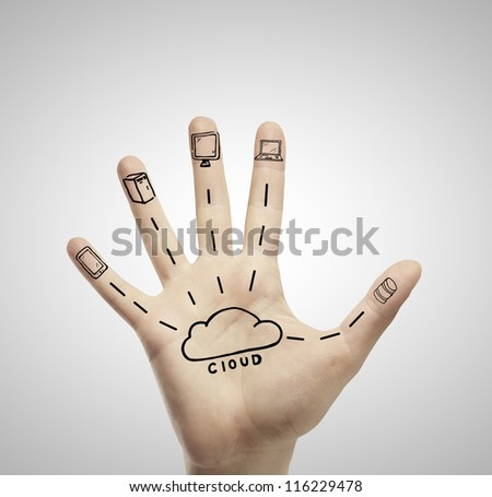 cloud computing on hand on a white background - stock photo