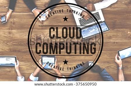 Cloud Computing Online Internet Data Concept - stock photo