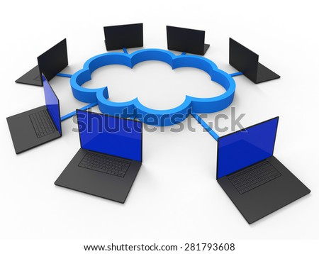 Cloud Computing Representing Information Technology And Communication - stock photo