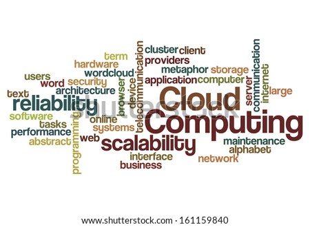 cloud computing scalability reliability concept word cloud