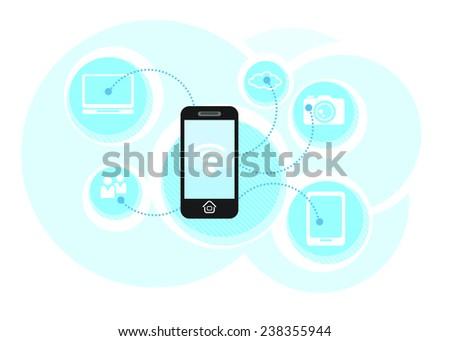 Cloud computing schema concept. Business smartphone communicate in wifi. Wireless technology. Raster version - stock photo