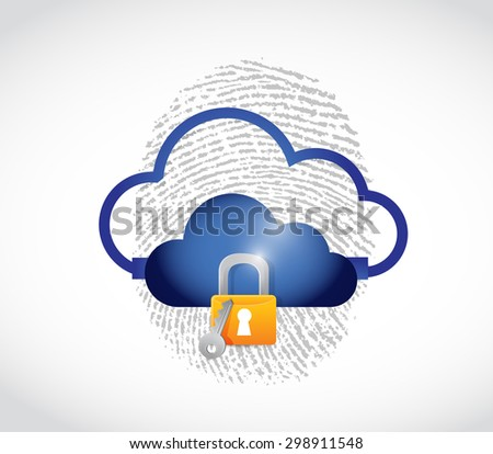 cloud computing secure technology concept illustration design over white - stock photo