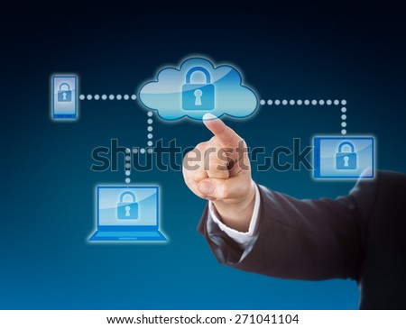Cloud computing security business metaphor in blue colors. Corporate arm reaching out to a lock symbol inside a cloud icon. The padlock repeats on cellphone, tablet PC and laptop within the network. - stock photo