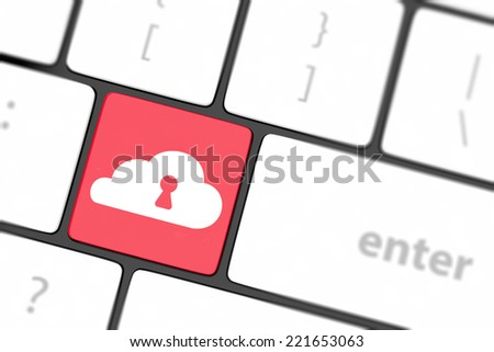 Cloud computing security concept on keyboard button close-up