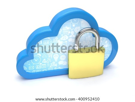 Cloud computing, security concept on white. 3d rendering.
