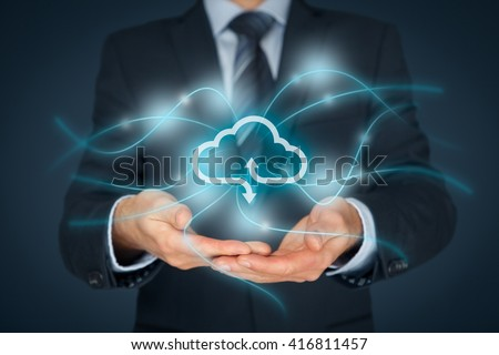 Cloud computing service concept - connect to cloud. Businessman offering cloud computing service represented by icon, communication with cloud represented by lines and light points.
