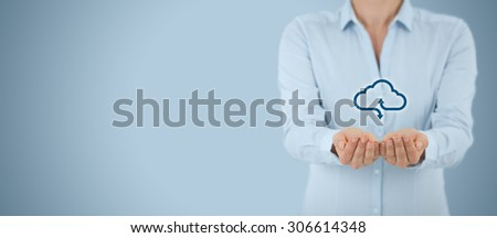 Cloud computing service concept - connect to cloud. Woman offering cloud computing service represented by icon.