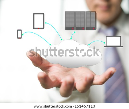 Cloud computing service with a business man and  office background