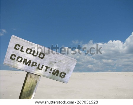 Cloud computing  sign with clouds and skyline background - stock photo