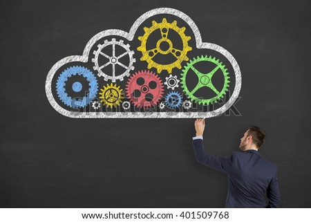 Cloud Computing Solution Concept on Chalkboard - stock photo