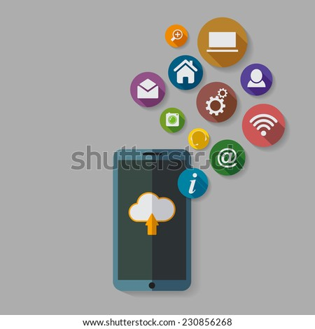 Cloud computing storage and applications on a mobile phone  with a set of icons. - stock photo