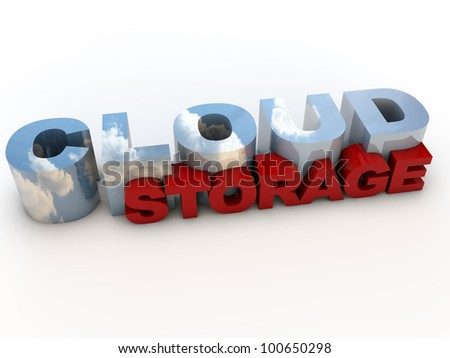 Cloud Computing Storage Service, over white Background - stock photo