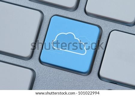 Cloud computing symbol at the computer key - stock photo