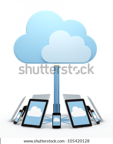 Cloud computing, tablet computers and smart phones - stock photo