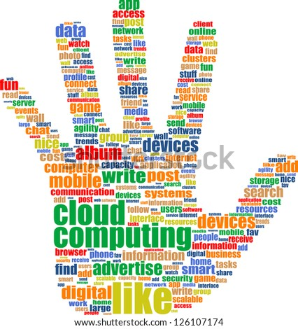 cloud computing tag cloud hand isolated on a white background, raster