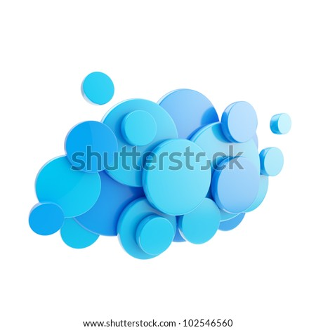 Cloud computing technology blue glossy icon symbol isolated on white - stock photo