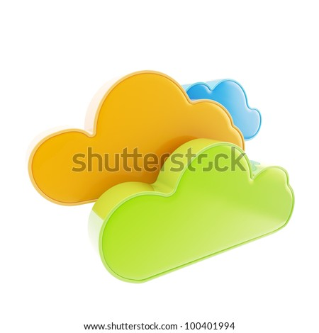 Cloud computing technology colorful glossy icon isolated on white