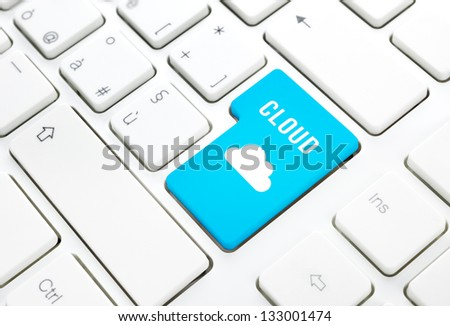 Cloud computing technology concept. Enter key on white keyboard - stock photo