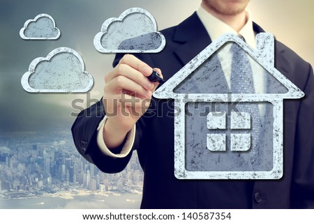 Cloud computing, technology connectivity home concept - stock photo