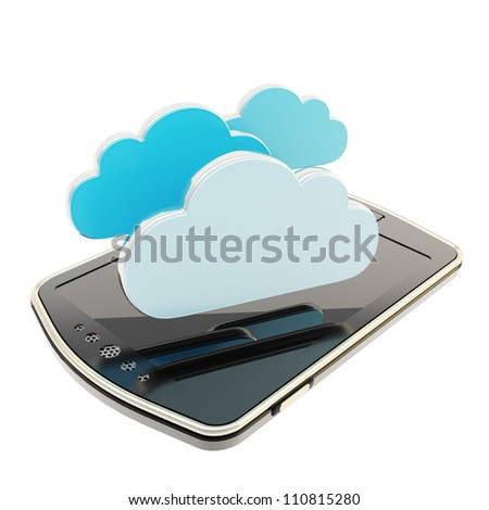 Cloud computing technology glossy emblems over pad mobile phone concept isolated on white background - stock photo
