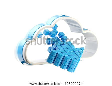 Cloud computing technology icon emblem with symbolic glossy arrow inside isolated on white