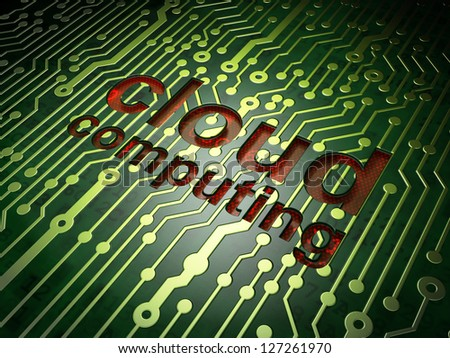 Cloud computing technology, networking concept: circuit board with word Cloud Computing, 3d render - stock photo