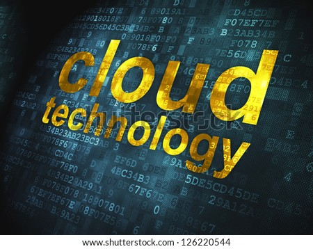 Cloud computing technology, networking concept: pixelated words Cloud Technology on digital background, 3d render