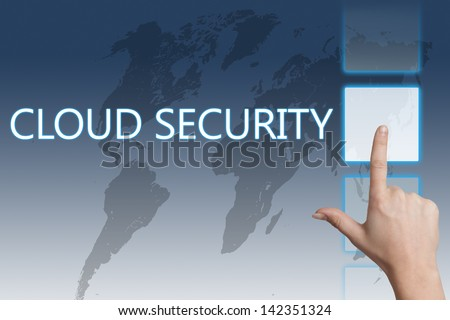Cloud computing technology, networking concept: words cloud security on digital world map touchscreen. - stock photo
