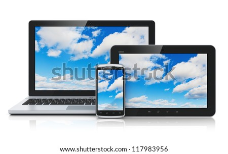 Cloud computing technology service concept: business laptop or notebook, tablet PC computer and black glossy touchscreen smartphone with blue sky and clouds on screen isolated on white background