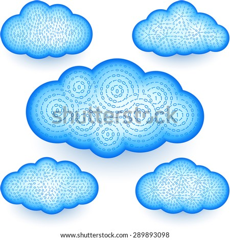 Cloud computing technology storages with a digital binary data - stock photo