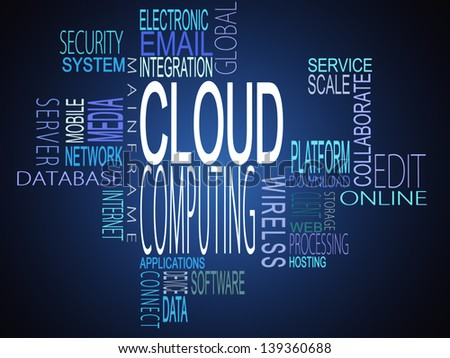 Cloud computing terms together on blue background