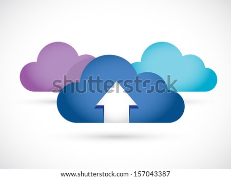 cloud computing up arrow illustration design over white