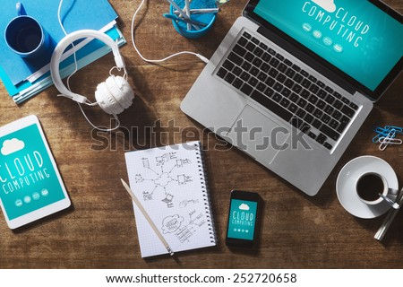 Cloud computing user interface and mobile app on laptop, smart phone and tablet - stock photo