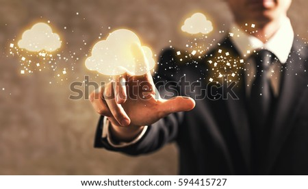 Cloud Computing with businessman on dark vintage background