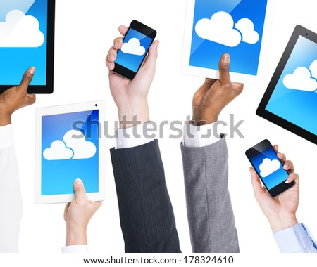 Cloud Computing with Digital Devices - stock photo