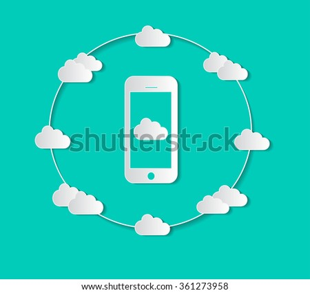 Cloud computing with mobile phone and social media icons color for business illustration