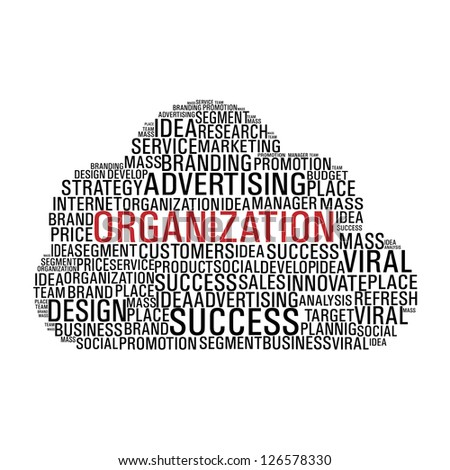 Cloud computing with words related to business organization isolated over white. - stock photo