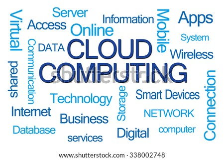 Cloud Computing Word Cloud on White Background - stock photo