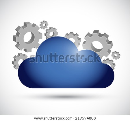 cloud computing working illustration design over a white background