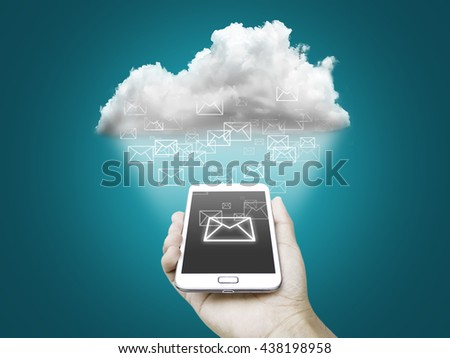 Cloud concept, hand holding smart phone - stock photo