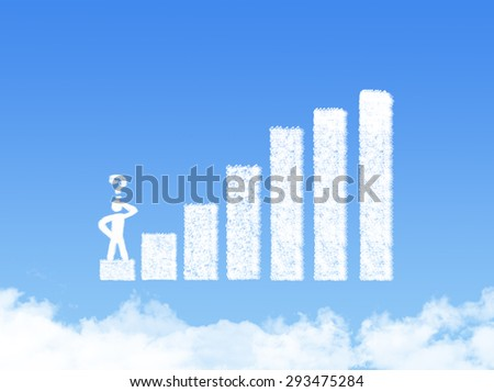 Cloud concept of crisis with unstable statistic bars - stock photo
