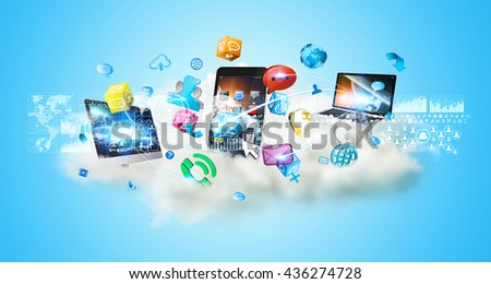 Cloud connecting tech devices and icons applications with each other '3D rendering' - stock photo