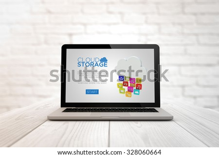 cloud data concept: digitally generated laptop on a wooden table with cloud drive storage. Screen graphics are made up. - stock photo