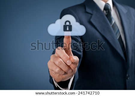 Cloud data security services concept. Safety data management specialist click on secured cloud computing data storage represented by cloud icon with padlock. - stock photo